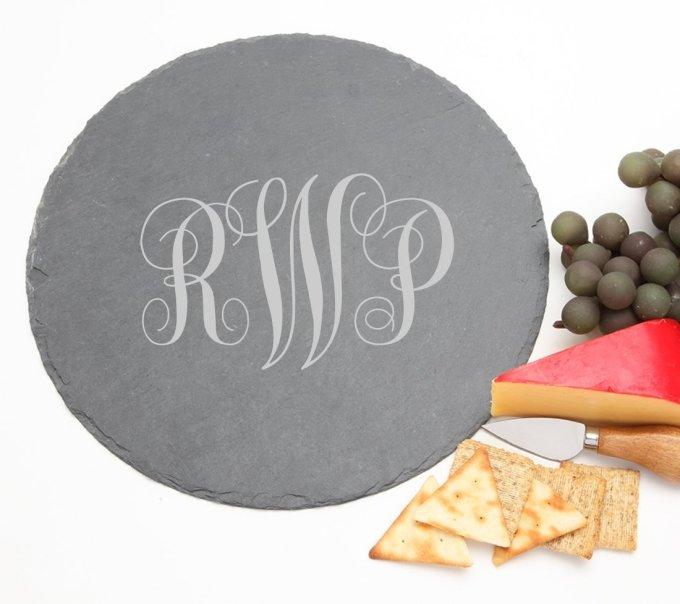 Personalized Slate Cheese Board Round 12 x 12 DESIGN 1 SCBR-001