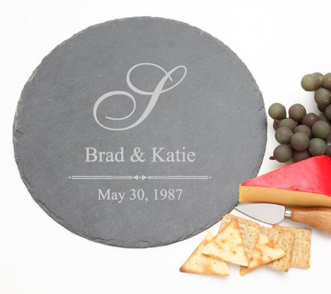 Personalized Slate Cheese Board Round 12 x 12 DESIGN 11 SCBR-011