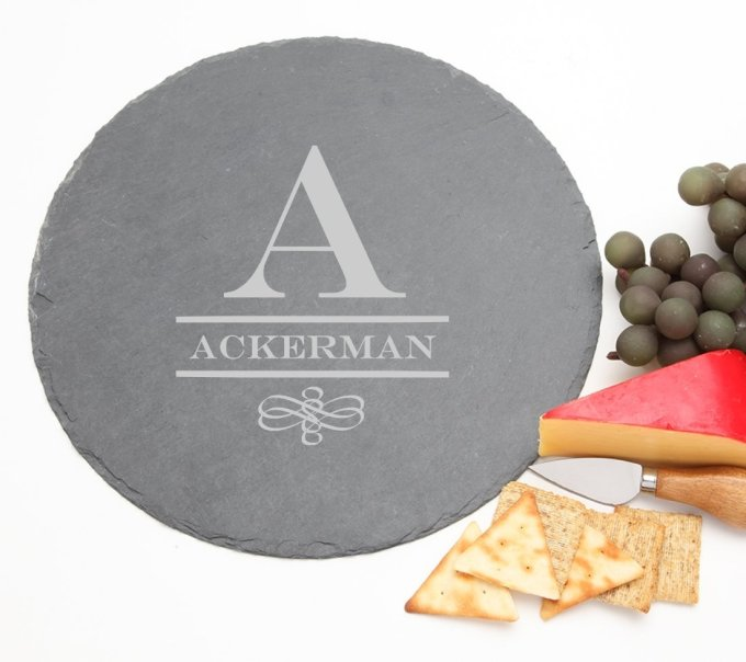 Personalized Slate Cheese Board Round 12 x 12 DESIGN 12 SCBR-012
