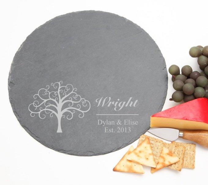 Personalized Slate Cheese Board Round 12 x 12 DESIGN 18 SCBR-018