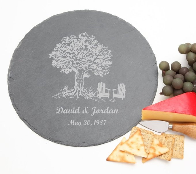 Personalized Slate Cheese Board Round 12 x 12 DESIGN 31 SCBR-031
