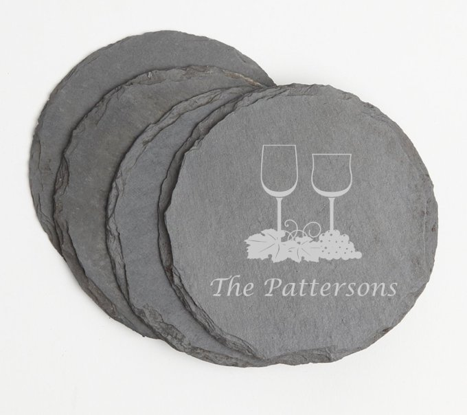 Personalized Slate Coasters Round Engraved Slate Coaster Set DESIGN 5 SCSR-005