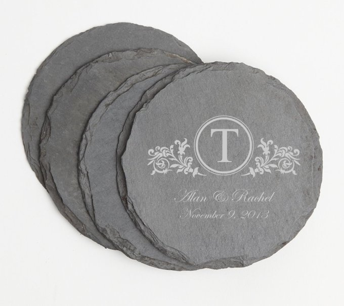 Personalized Slate Coasters Round Engraved Slate Coaster Set DESIGN 15 SCSR-015