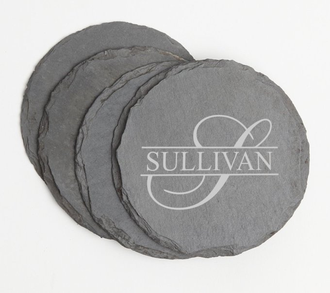 Personalized Slate Coasters Round Engraved Slate Coaster Set DESIGN 25 SCSR-025