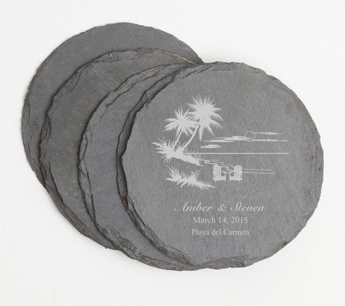 Personalized Slate Coasters Round Engraved Slate Coaster Set DESIGN 33 SCSR-033