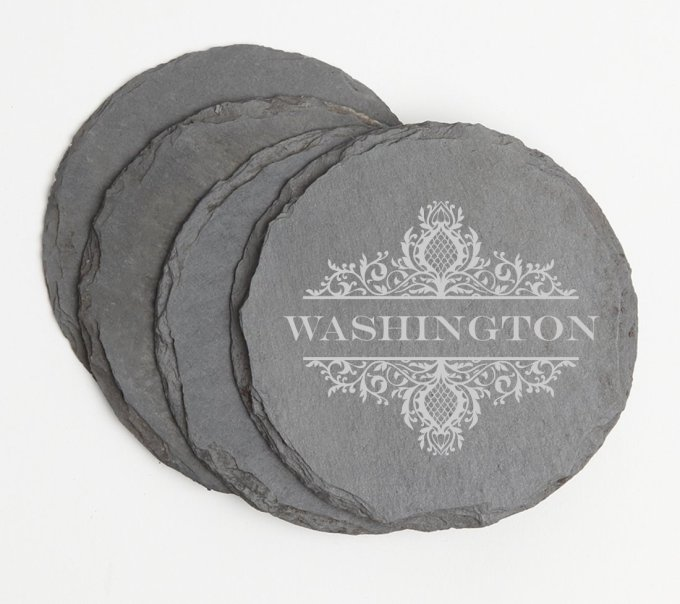 Personalized Slate Coasters Round Engraved Slate Coaster Set DESIGN 36 SCSR-036