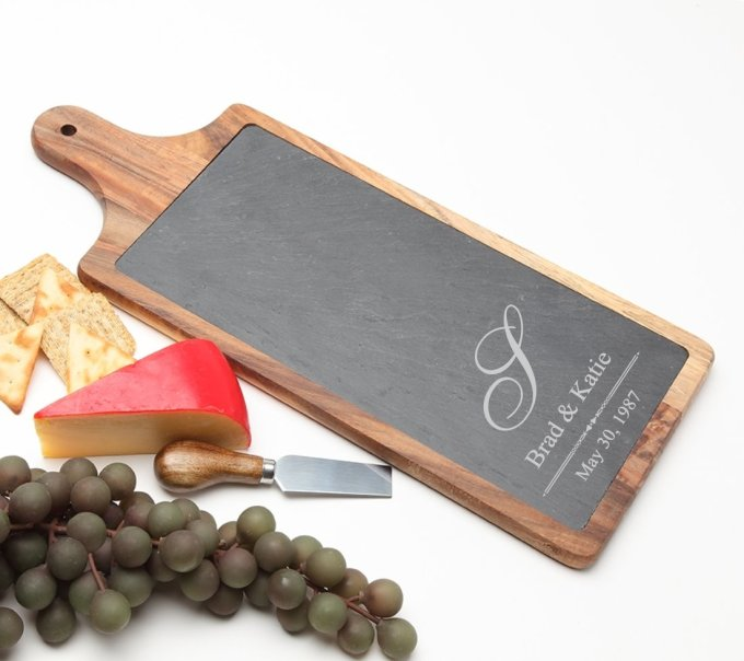 Personalized Cheese Board Slate and Acacia Wood 17 x 7 DESIGN 11 SCBA-011