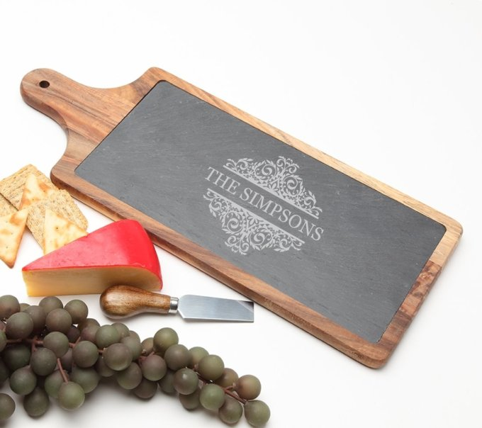 Personalized Cheese Board Slate and Acacia Wood 17 x 7 DESIGN 39 SCBA-039