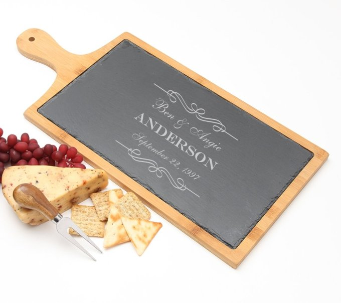 Personalized Cheese Board Slate and Bamboo Wood 19 x 9 DESIGN 9 SCBB-009