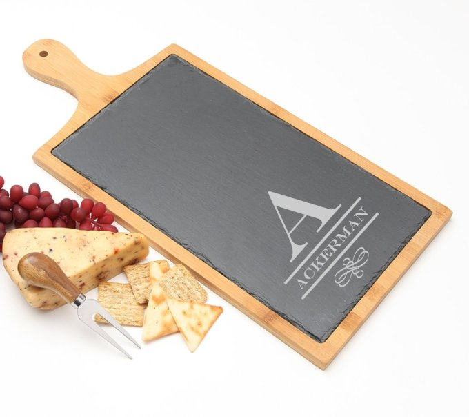 Personalized Cheese Board Slate and Bamboo Wood 19 x 9 DESIGN 12 SCBB-012