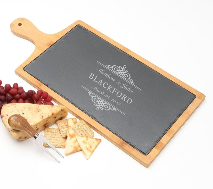 Personalized Cheese Board Slate and Bamboo 19 x 9 DESIGN 14 SCBB-014