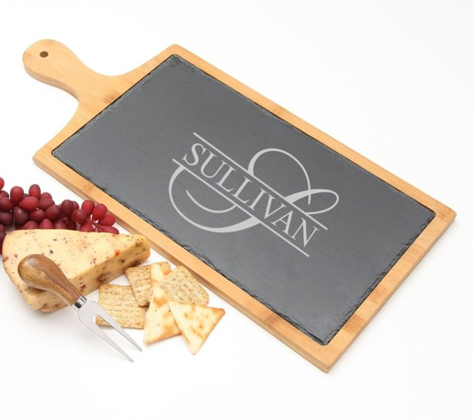 Personalized Cheese Board Slate and Bamboo 19 x 9 DESIGN 25 SCBB-025