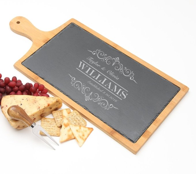 Personalized Cheese Board Slate and Bamboo 19 x 9 DESIGN 34 SCBB-034