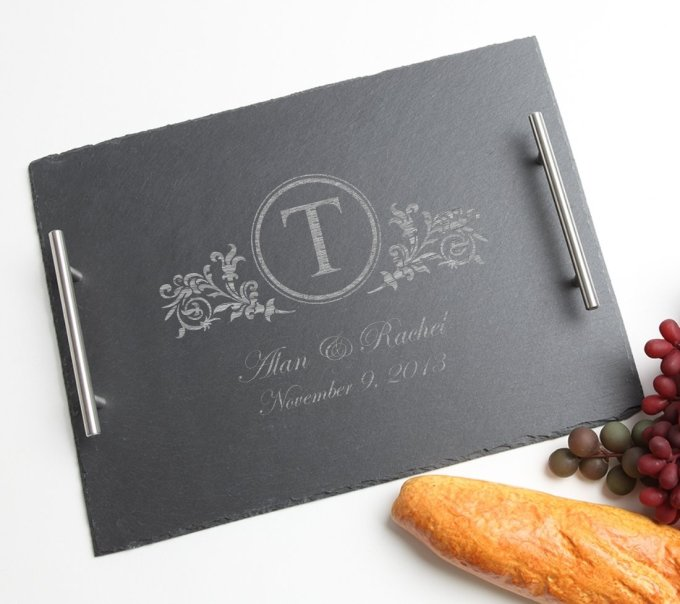 Personalized Slate Serving Tray Stainless 15 x 12 DESIGN 15 SSTS-015