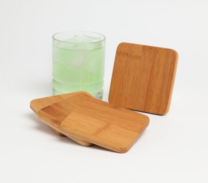 Personalized Bamboo Coasters Custom Engraved Bamboo Coaster Set