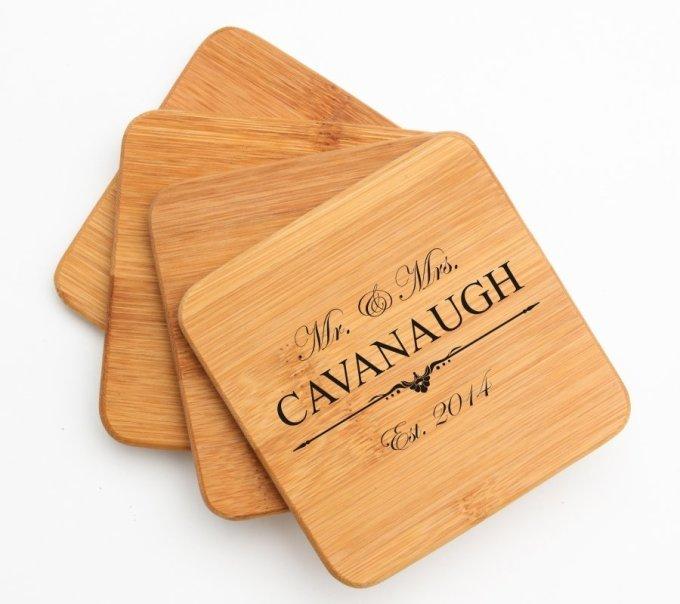 Engraved Bamboo Coasters