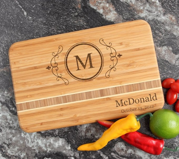 Personalized Bamboo Cutting Board Engraved 12 x 8 DESIGN 10 CBE-010