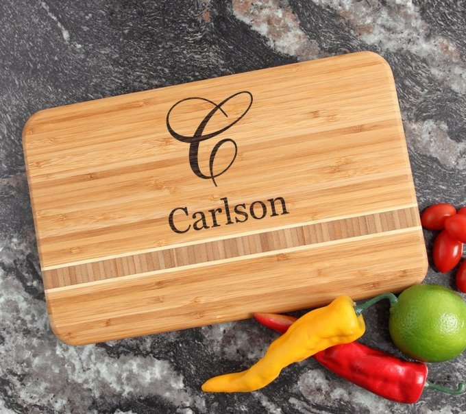Personalized Bamboo Cutting Board Engraved 12 x 8 DESIGN 3 CBE-003