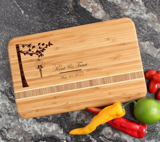Personalized Bamboo Cutting Board Engraved 12 x 8 DESIGN 32 CBE-032