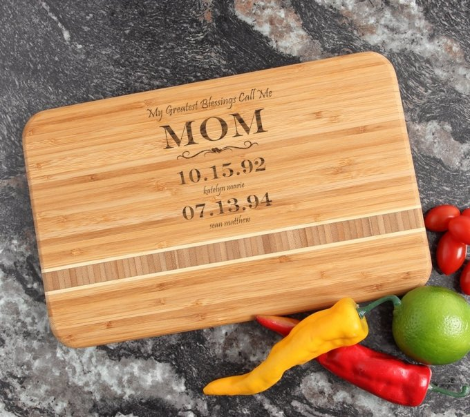 Personalized Bamboo Cutting Board Engraved 12 x 8 DESIGN 38 CBE-038