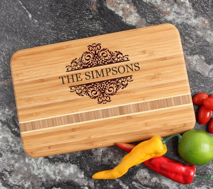 Personalized Bamboo Cutting Board Engraved 12 x 8 DESIGN 39 CBE-039