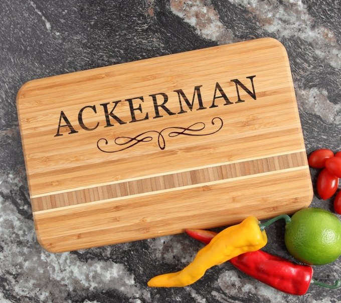 Personalized Bamboo Cutting Board Engraved 12 x 8 DESIGN 8 CBE-008