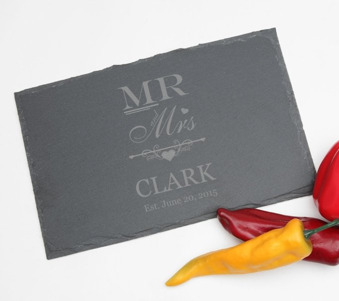 Personalized Slate Cheese Board 11 x 7 DESIGN 21 SCBS-021
