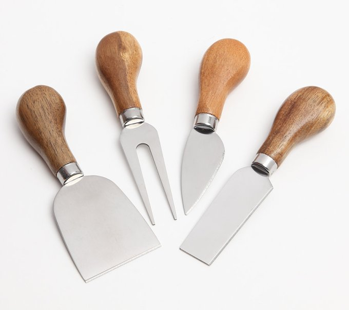 Set of 4 Acacia Wood Cheese Utensils