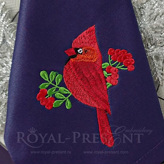 Дизайн машинной вышивки Кардинал и рябина RPE-1231
