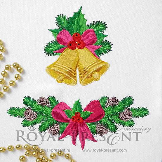 Рождественский Набор дизайнов машинной вышивки RPE-1233
