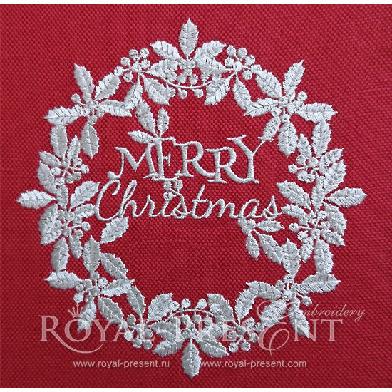 Дизайн машинной вышивки Белый новогодний венок RPE-132