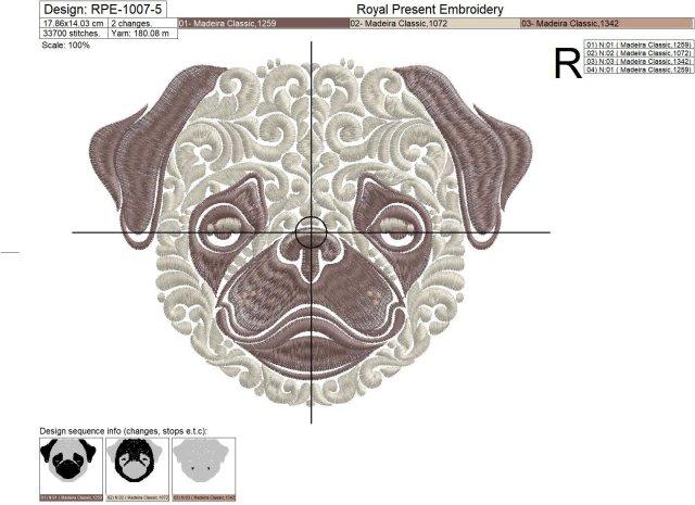Орнаментальный дизайн машинной вышивки Мопс - 6 размеров