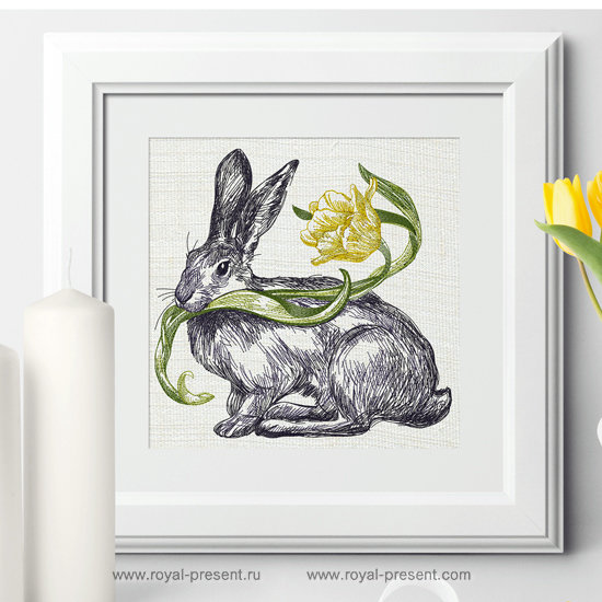 Дизайн машинной вышивки Весенний Кролик с тюльпаном - 3 размера RPE-1253