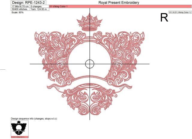 Дизайн машинной вышивки Барокко обрамление с короной контурное