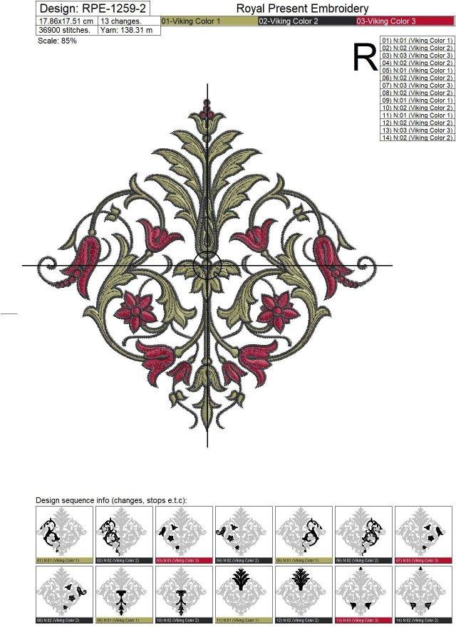 Винтажный орнамент 19 века Дизайн машинной вышивки
