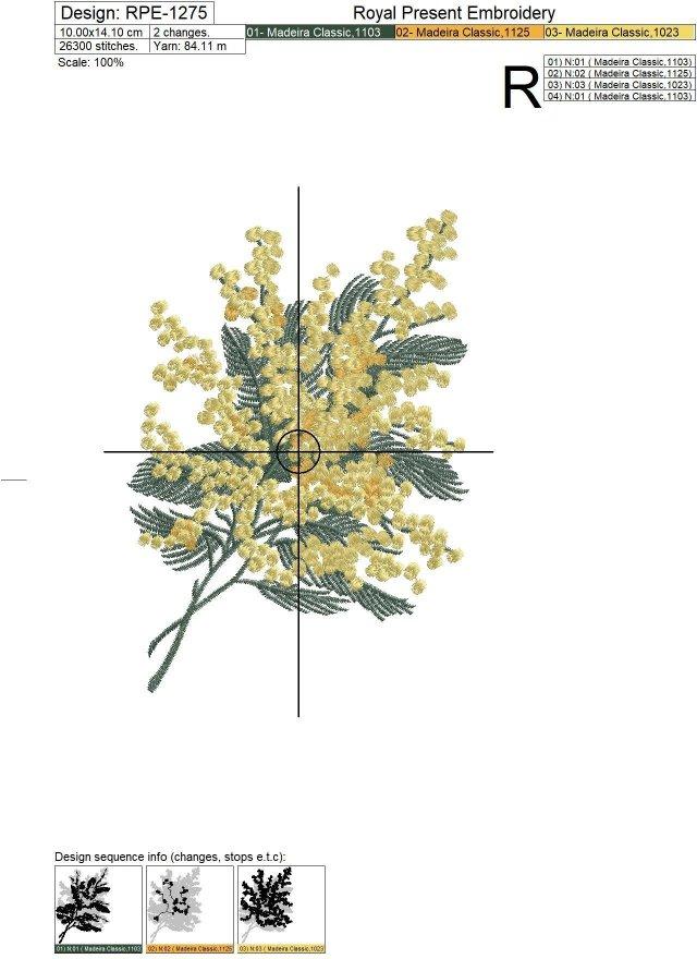 Дизайн машинной вышивки Мимоза - 2 размера