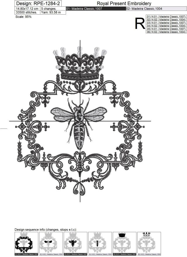 Дизайн машинной вышивки Винтажная Королева Пчела