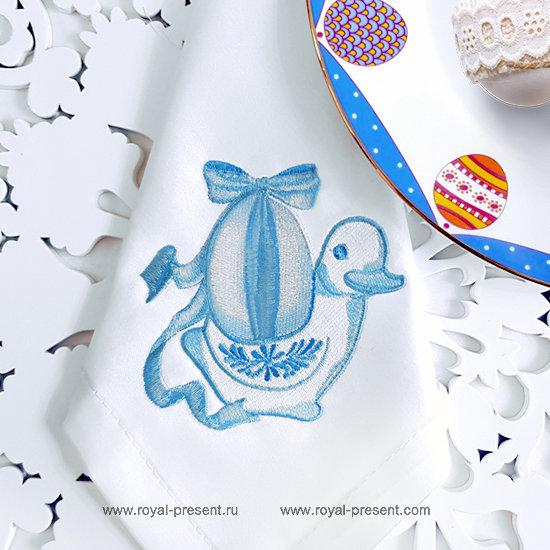 Дизайн машинной вышивки Пасхальная уточка RPE-1291