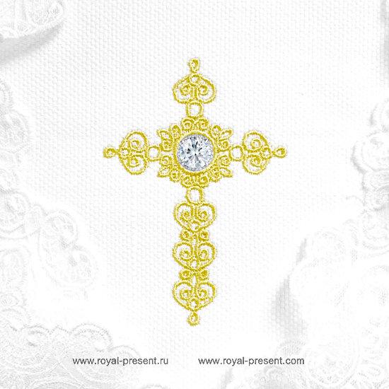 Дизайн машинной вышивки Крестик для крестин со стразами RPE-1306
