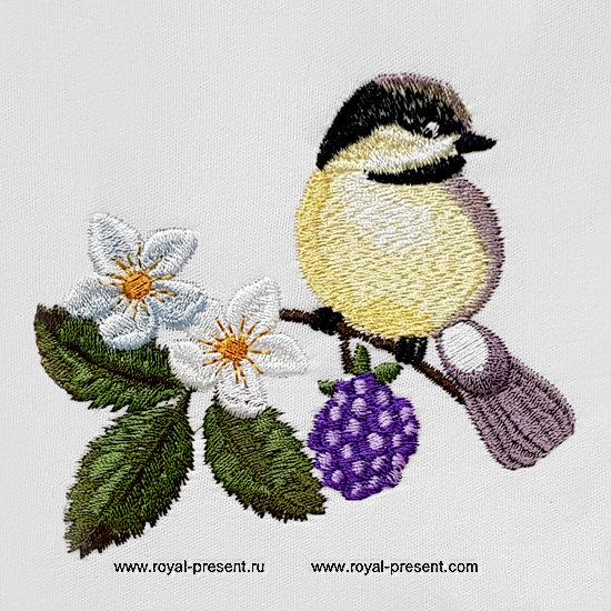 Дизайн машинной вышивки Птичка Синичка - 2 размера RPE-1329