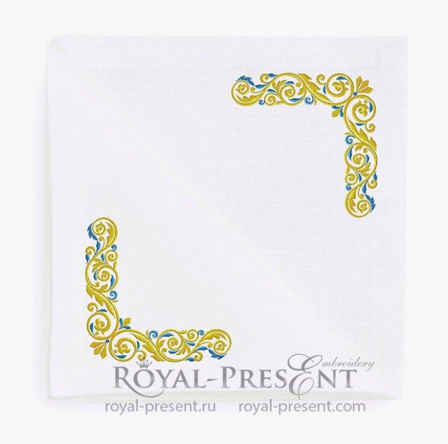 Золото с голубым Угловой Дизайн машинной вышивки - 3 размера
