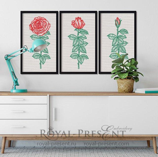 Дизайны машинной вышивки Триптих винтажные розы - 7 размеров RPE-1375