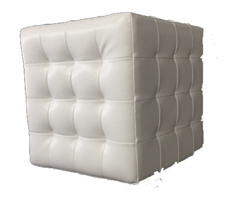 Tuffeted Cube Ottoman - White Faux Leather Tuffeted Cube Ottoman - White Faux Leather