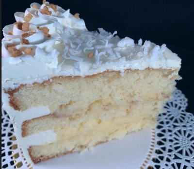 Rum Coconut Tropical Escape Cake (slice)