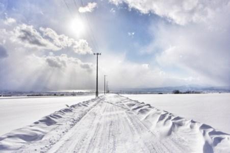 北海道、雪道