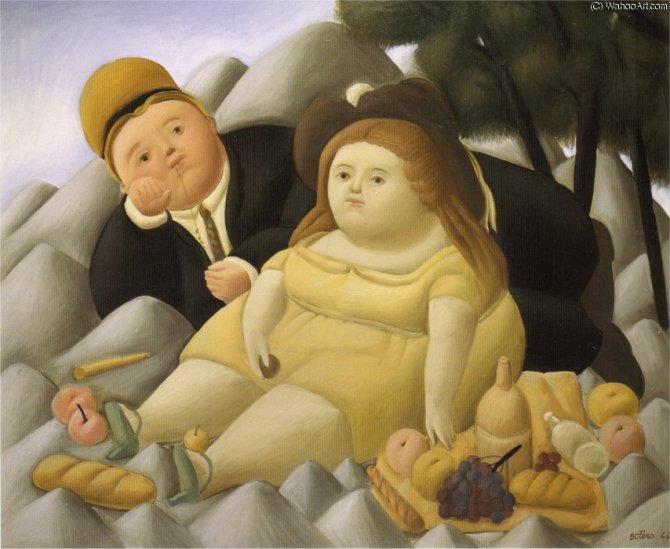Fernando Botero Angulo pique-nique en montagne