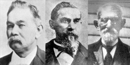 Town Founders (from left) Daniel Blackburn, James Blackburn and Drury James (uncle to the outlaw Jesse James)
