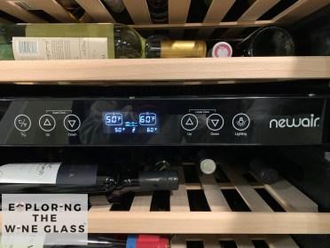 image of temperature controls on new air wine fridge
