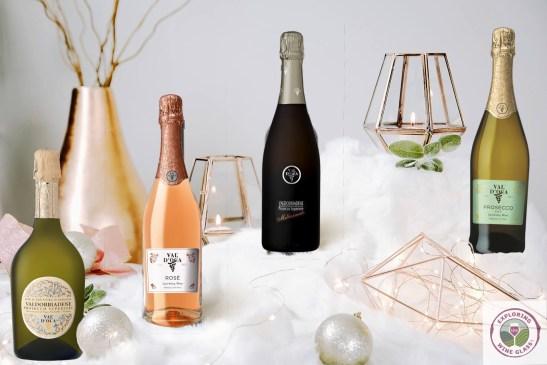 bottles of Val d'Oca in winter setting