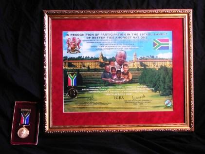 Awards Nelson Mandela Peace Medal ICEA Ambassadors Jakupca